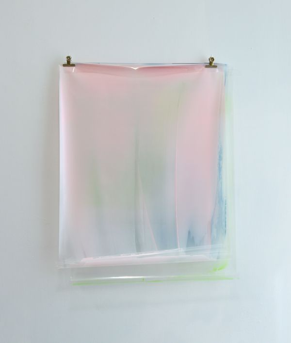 Matt McClune Hung Painting (Pink, Blue, Green): Kremer pigments and acrylic on transparent plastic foil sheets, clips