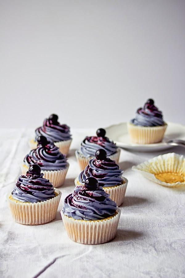 Now these are cupcakes for grown-ups: lemon cake topped with rich-looking blueberry buttercream.