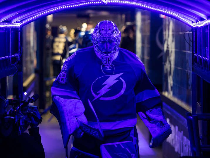 TAMPA, FL - MARCH 6: Goalie Andrei Vasilevskiy #88 of the Tampa Bay Lightning leads the team to the ice for pregame warm ups against the New York Rangers Amalie Arena on March 6, 2017 in Tampa, Florida. (Photo by Scott Audette/NHLI via Getty Images)