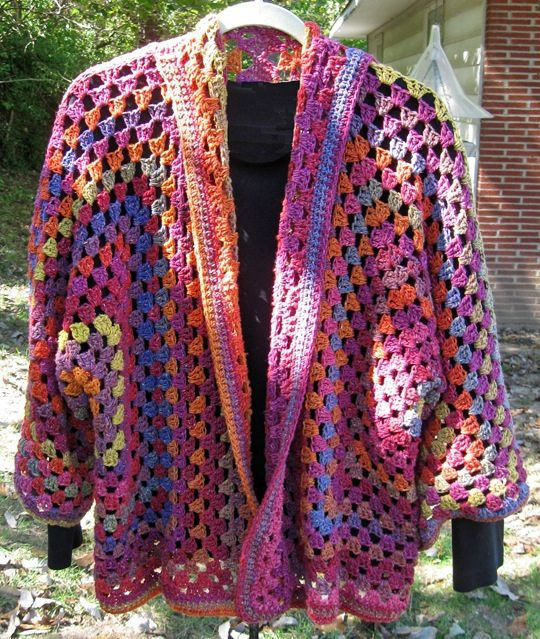 Crochet Hexagon Cardi, adult size. I would taper the sleeves. Easy to accomplish with this free pattern.