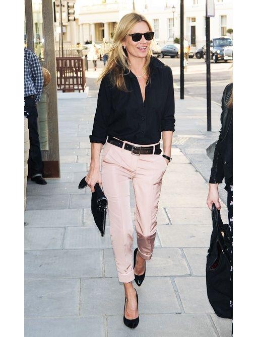 Classy prep navy: Fashion, Shirts, Style Inspiration, Street Style, Pink Pants, Katemoss, Work Outfits, Kate Moss, Black Blouse