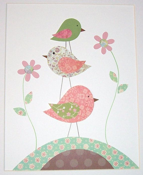 Nursery Art, Children's Art Decor, Baby Girl Nursery Decor, Kids Wall Art, Birds, Pink, Green, One For You and One For Me, 8x10 Print. $14.00, via Etsy.