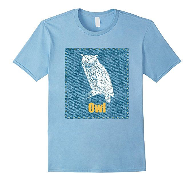 Owl shirt. Complement your jeans outfit with this denim design with a wild animal. Endangered Species need our help, save the wildlife t-shirt.  Great gift for the zoo lover, wild animal lover shirt. Habitat destruction has resulted on wild animals extinction. Show your love and support to keep all species alive on this awesome tee.