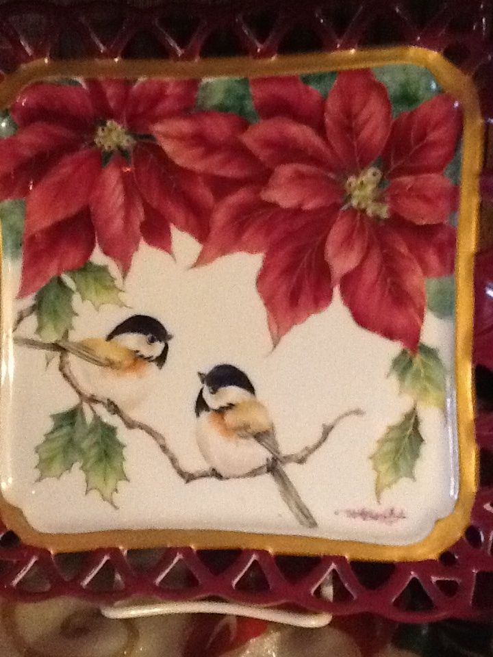 Shirley Weston - Poinsettia Tray Design  w/ chickadees (720×960)