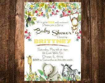 Safari Baby Shower Invitations Jungle Baby Shower