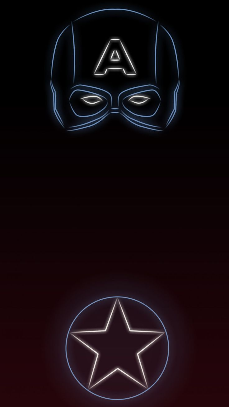 Captain America. #TeamCap Tap to see more Superheroes Glow With Neon Light Apple iPhone 6s Plus HD wallpapers, backgrounds, fondos. - @mobile9