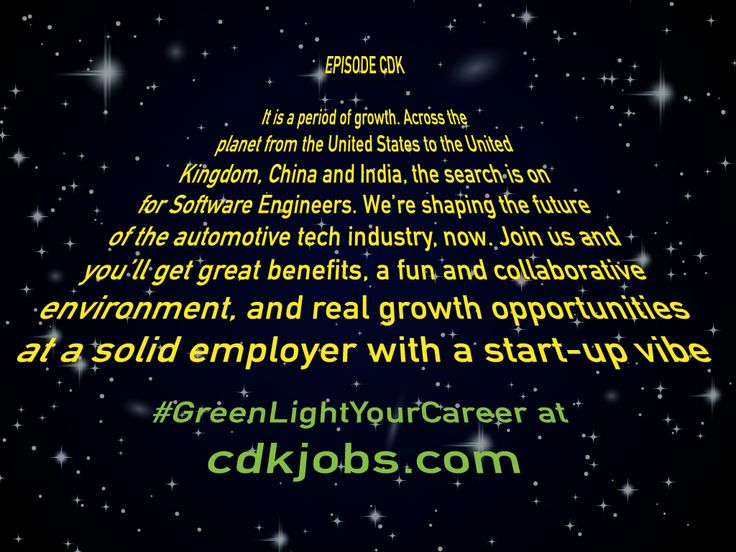 May the career force be with you. http://www.cdkjobs.com/ #GreenLightYourCareer #Jobgram