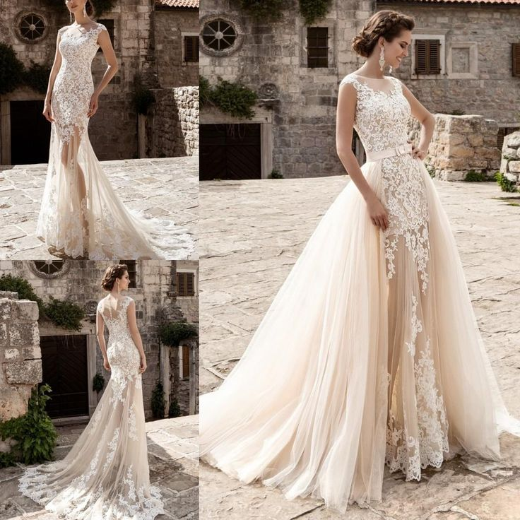 New 2017 Sexy Lace Overskirts Wedding Dresses Exquisite Appliques Sheer Bateau Neck Cap Sleeve Mermaid Bridal Gowns With Detachable Skirt Ivory Mermaid Wedding Dresses Lace Wedding Dresses 2015 From Dmronline, $146.64| Dhgate.Com