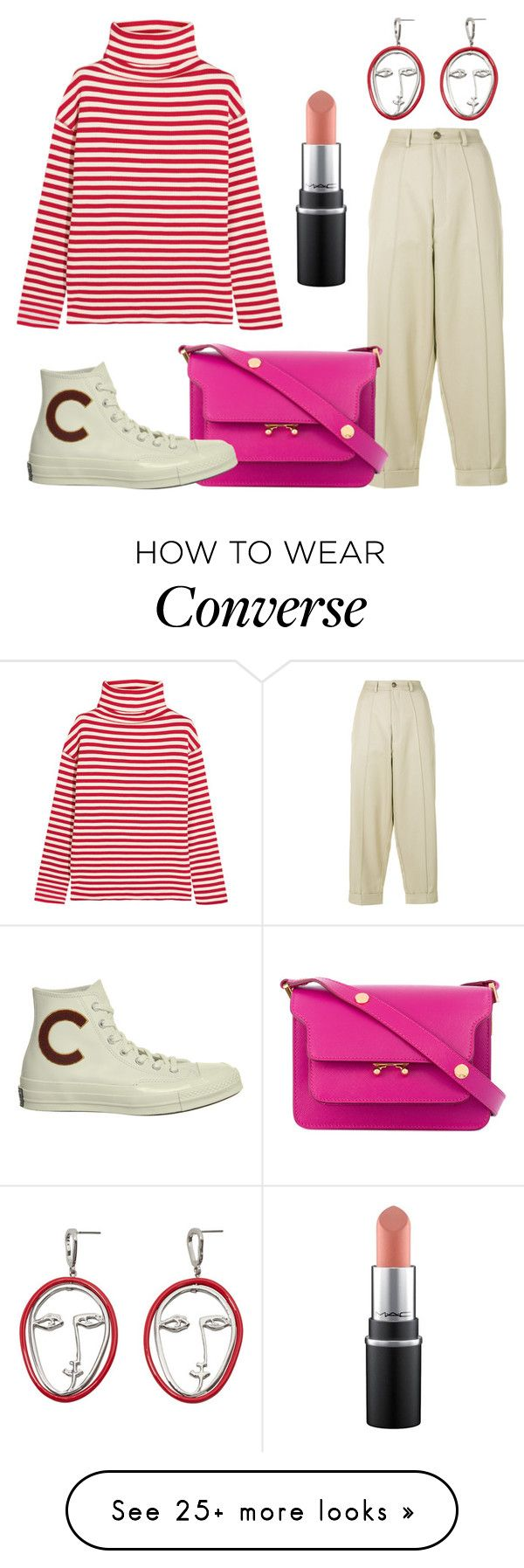 """Red & Pink"" by thevirgoviolet on Polyvore featuring Steve J & Yoni P, MANGO, Société Anonyme, Marni, Converse and stripes"