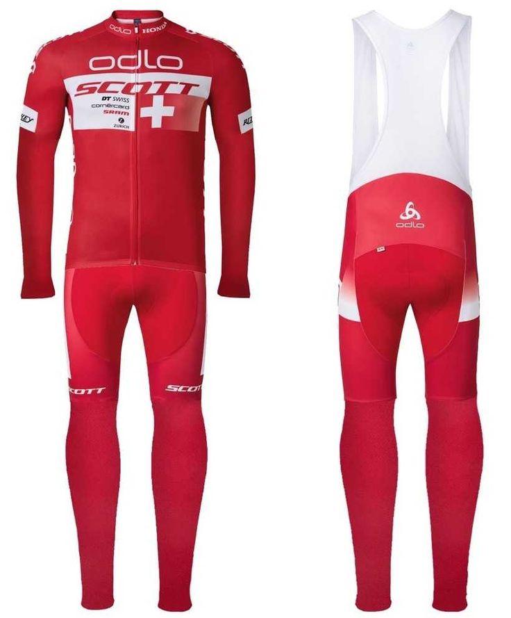 2016 Scott ODLO Team rot Outlet Fahrradbekleidung Fahrradbekleidung Lang + Lang Trägerhose