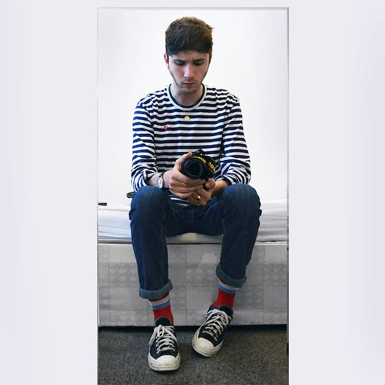 Get this look: http://lb.nu/look/8301671  More looks by David Whitfield: http://lb.nu/davidian  Items in this look:  Comme Des Garçons Little Red Heart, Mondaine Swiss Railway Watch, Levi's® Levis 511, Gosha Rubchinskiy Socks, Converse X Cdg Play 70s Low   #casual #minimal #street #commedesgarcons #play #tshirt #jewellery #jeans #levis