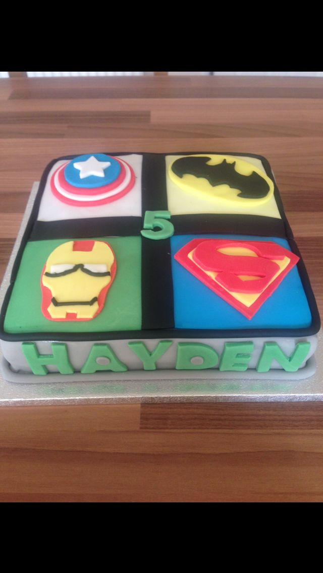 Super Hero Birthday Cake Square Superman Batman Captain