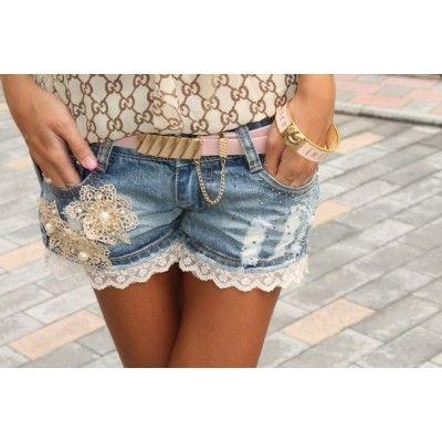 Женские короткие кружевные джинсовые шорты