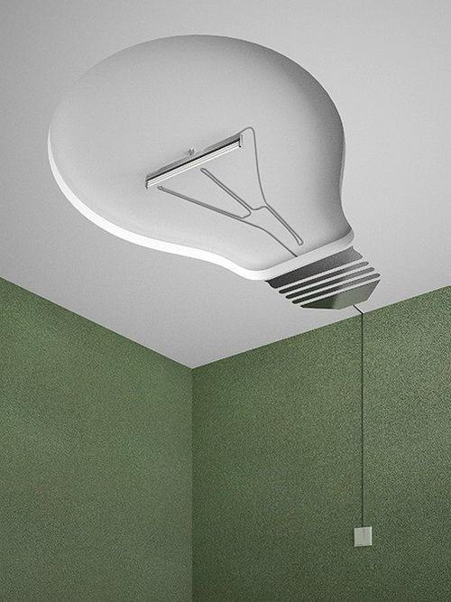 Lol! Bright idea for a ceiling light.