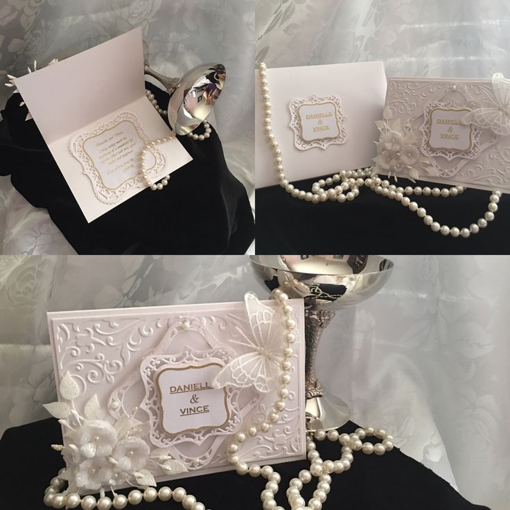 Wedding Card. White and glittery with a touch of gold