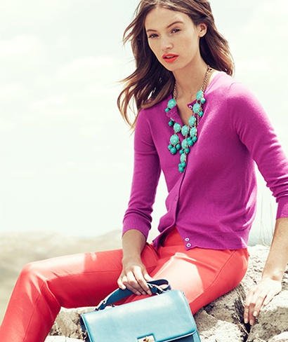 J. Crew, I like these colors together.  They have a kick.