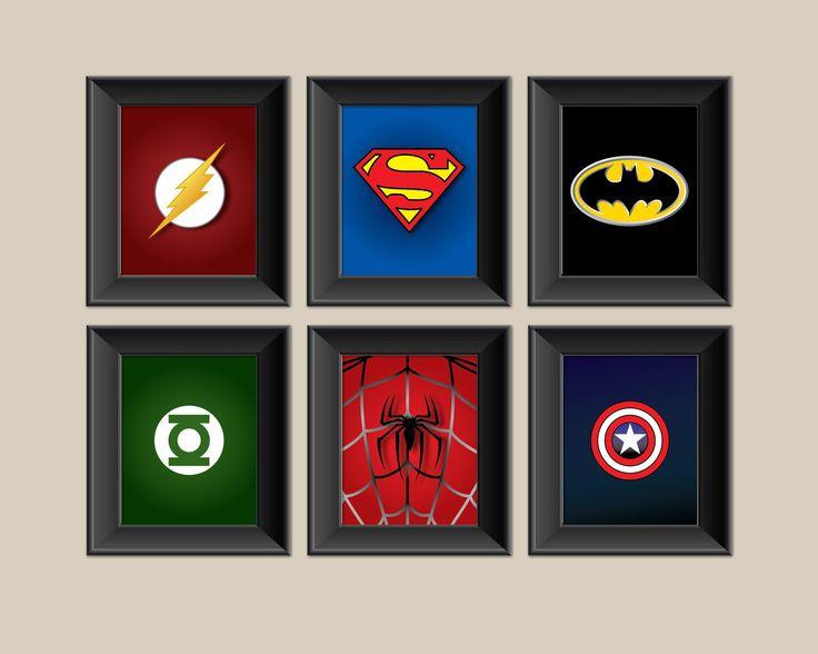Set of 6 Superhero Prints - Superman - Batman - Spiderman - Captain America - Green Lantern - Boys Room Decor - Kids Room Wall Art. $76.00, via Etsy.