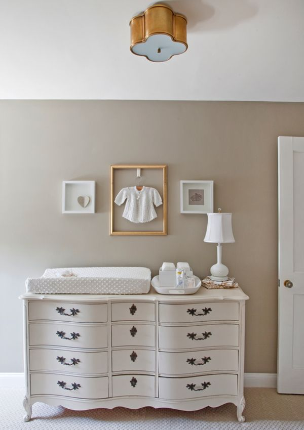 Gallery wall idea: frame a sentimental baby clothing item. Easy, inexpensive and looks great! #nursery #genderneutral: Wall Colors, Frames, Dressers, Baby Rooms, Gender Neutral Nurseries, Changing Tables, Nurseries Ideas, Baby Nurseries, Kid