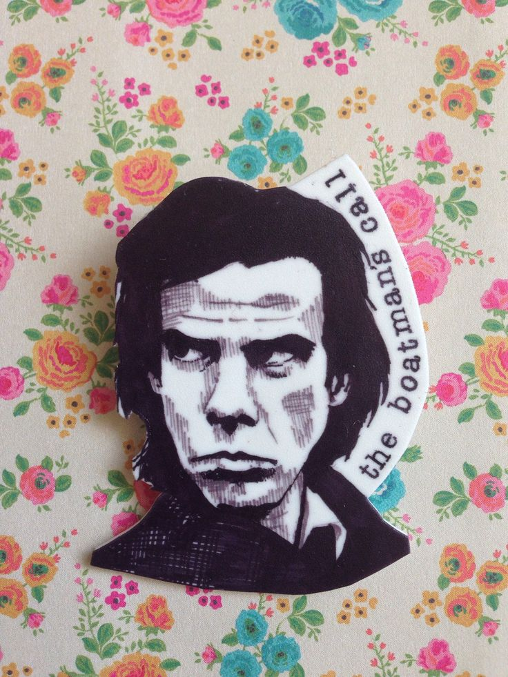 Nick Cave badge. This is an original illustration taken from the cover of The Boatmans Call album. Its been printed onto shrink plastic, baked and sealed with varnish.  The badges are fairly sturdy but do avoid contact with water (they dislike rain or washing machines!) and they should last you a long time.