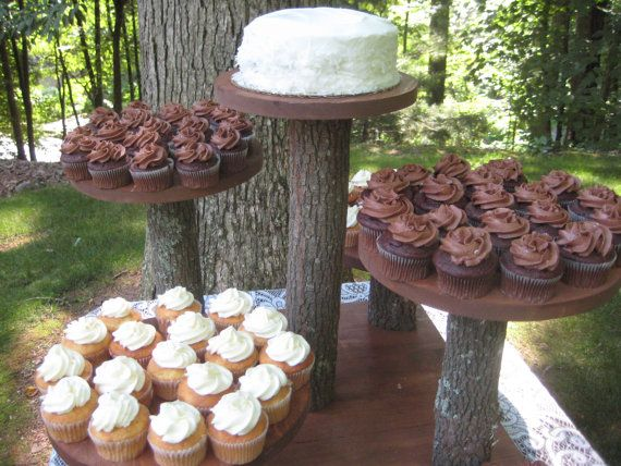 Rustic Cupcake Stand Wedding Cake Log Slice 5 by YourDivineAffair, @Amanda Snelson Graley here is the tower I mentioned in my voicemail, let me know what you think :)
