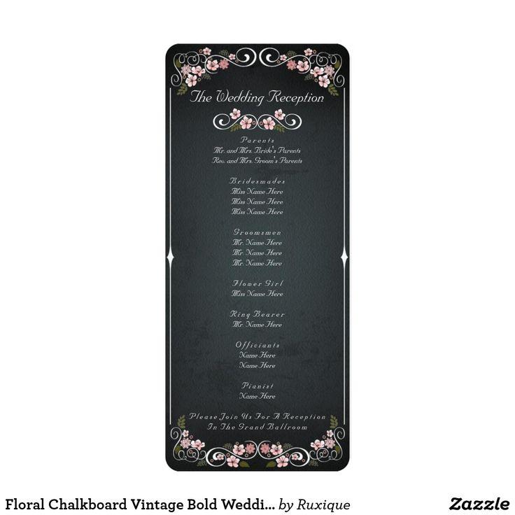 Floral Chalkboard Vintage Bold Wedding Program