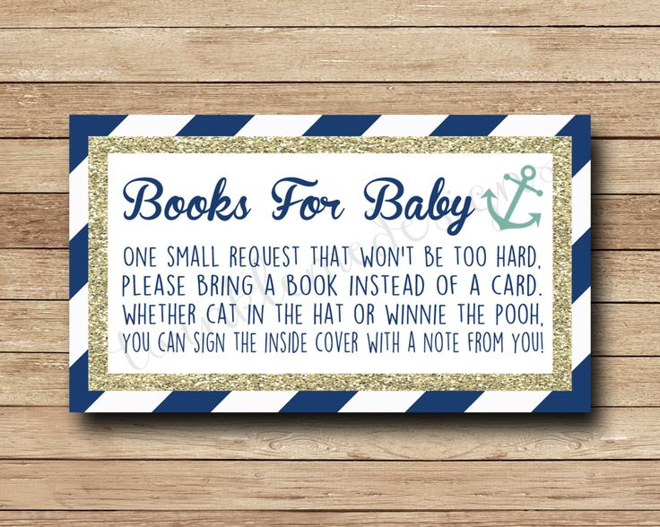 Nautical Book Request Insert, Bring A Book Instead Of A Card, Navy, Gold, Teal, Anchor Baby Shower Printable, Boy Baby, INSTANT DOWNLOAD by TwinkleMeDesigns on Etsy