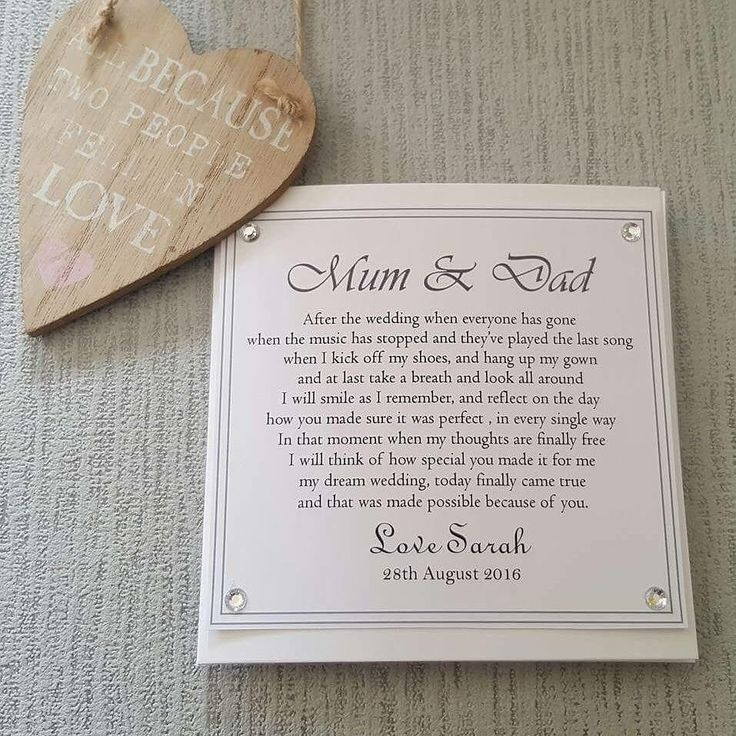 Parents Of The Bride Personalised Card To