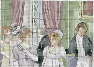 Patrones y esquemas gratis: Cuadro de damas a punto de cruz