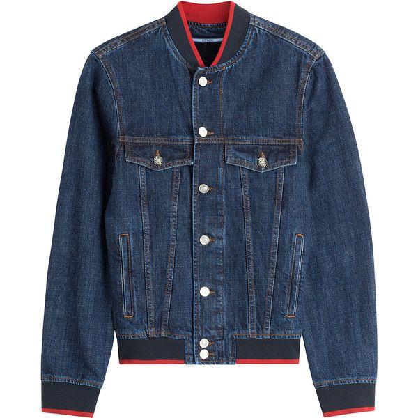 Kenzo Denim Bomber Jacket (16 855 UAH) ❤ liked on Polyvore featuring men's fashion, men's clothing, men's outerwear, men's jackets, blue, mens slim fit jacket, mens slim fit bomber jacket, mens slim jacket, mens slim fit denim jacket and mens denim jacket