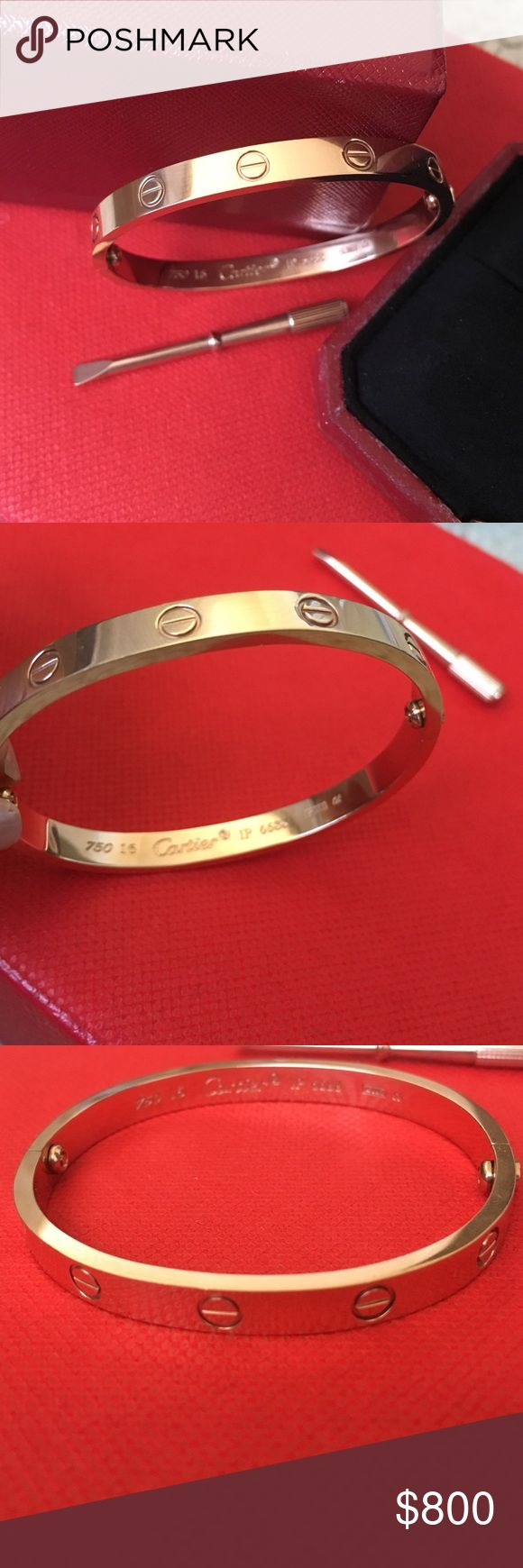 CARTIER Love bangle Rose gold plated size 16. Used it for 2 years still in very good condition. No fading/tarnishing even a scratch.Does not want to sell however bought the real cartier already. Bought this in korea for like a $1,500 as it is a VERY GOOD quality. Just want to sell for half the price only. Cartier Jewelry Bracelets