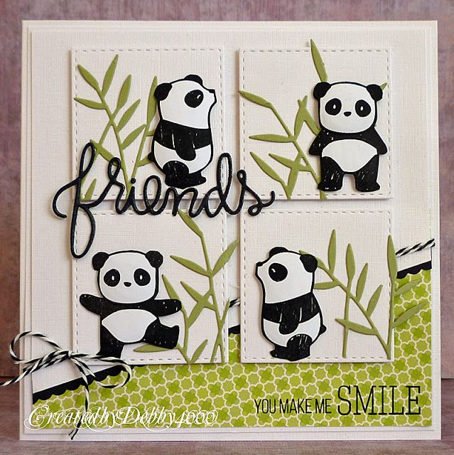 panda friends card by Debby Yates