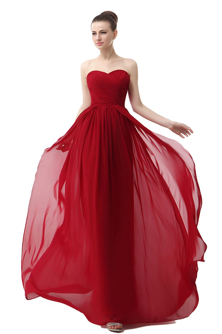 Sheath/Column Sweetheart Sleeveless Floor-length Red Chiffon Prom Dress LF12803