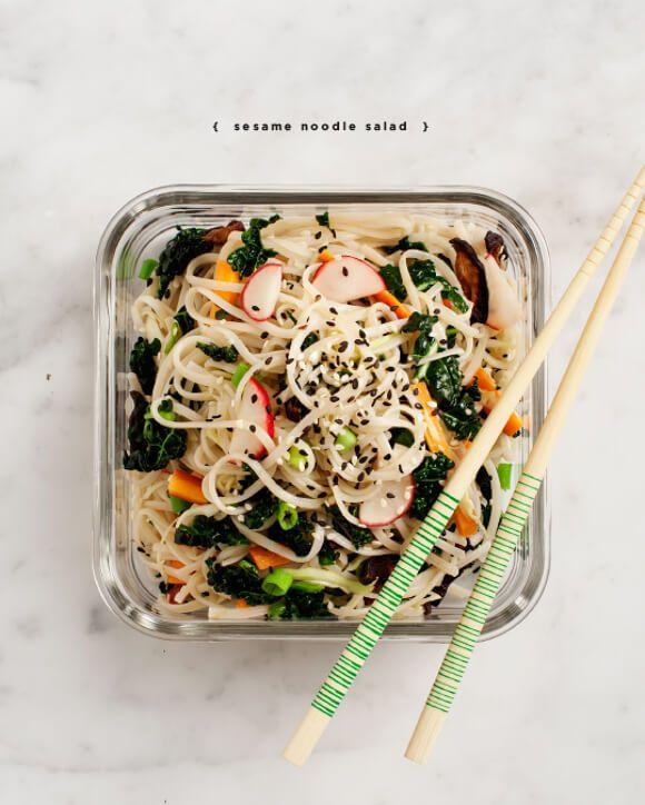 Inspo for cold sesame + peanut soba noodle salad (with kale, radishes, carrots, scallions, ginger, cabbage, mushrooms, and shrimp)