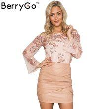 Berrygo off ombro playsuit 2016 outono inverno malha macacão manga flare ouro lantejoula leotard bodysuit mulheres jumpsuit romper alishoppbrasil