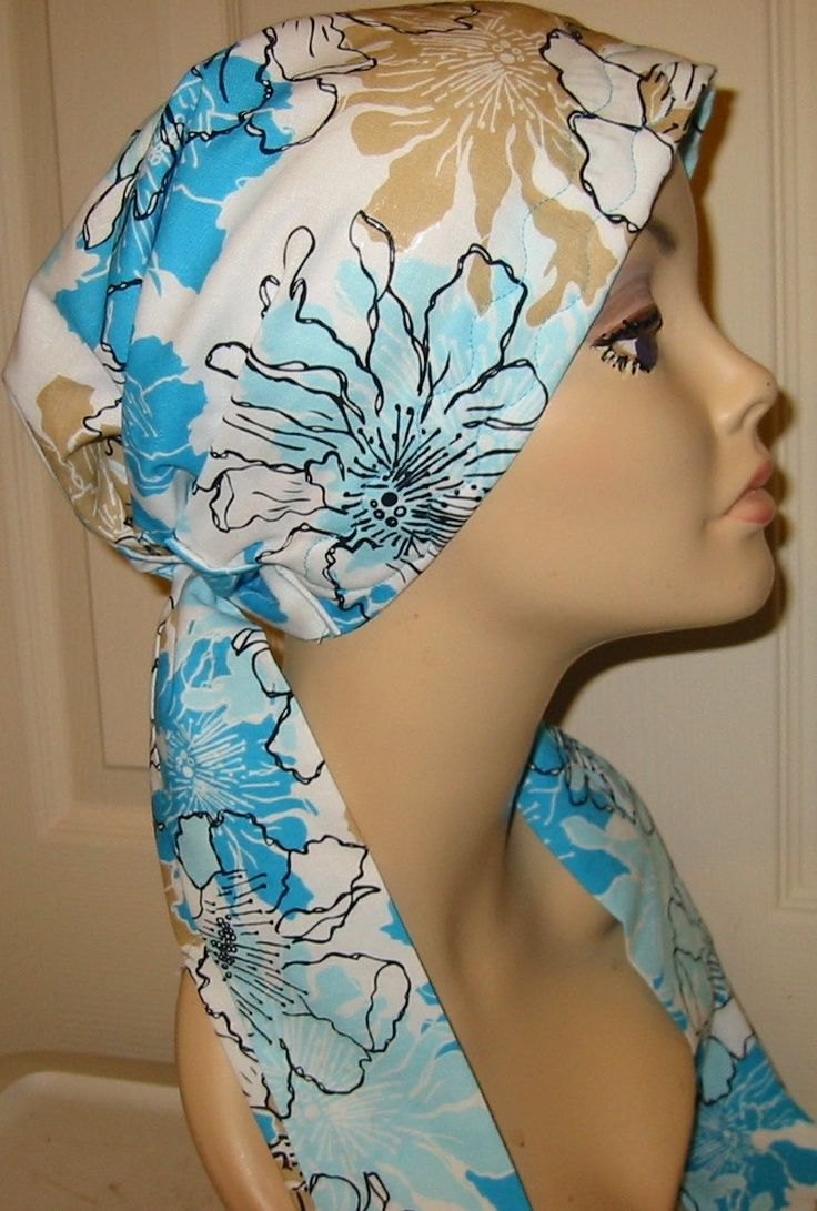 sewing patterns chemo head scarves | Turquoise and Tan Print Chemo Scarf, Hat, Cancer Hat, Hijab, Alopecia ...