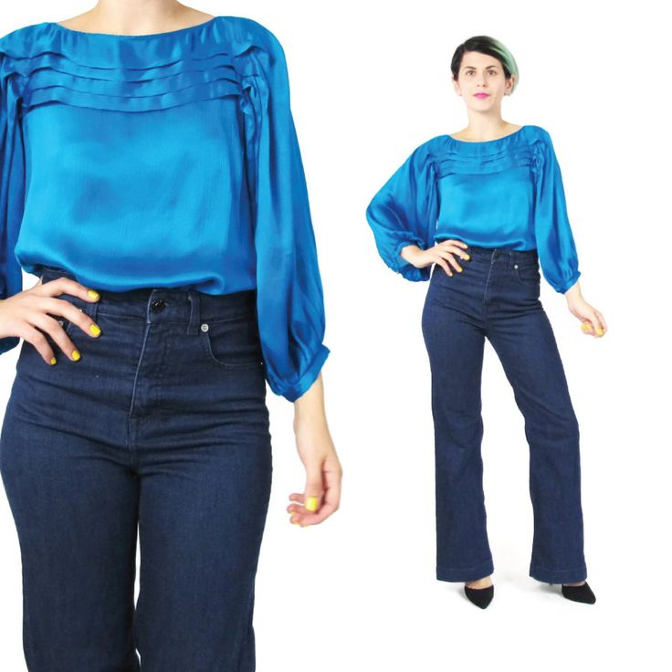 New to honeymoonmuse on Etsy: Diane Von Furstenberg Blouse Bright Blue Silk Blouse Jewel Tone Pleated Silk Blouse Peasant Sleeve Top Womens Work Office Blouse (S) (55.00 CAD)