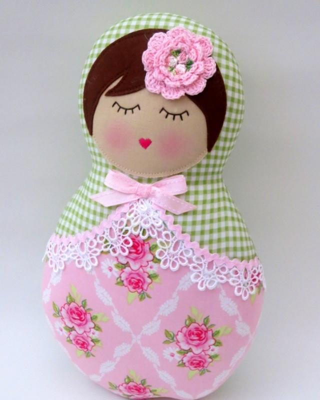 Image of babushka doll - green/pink