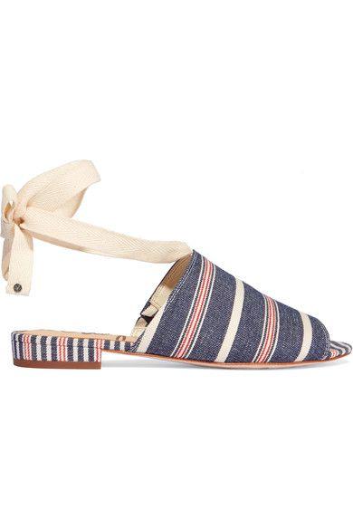 Sam Edelman - Tai Striped Woven Canvas Sandals - Blue - US10.5