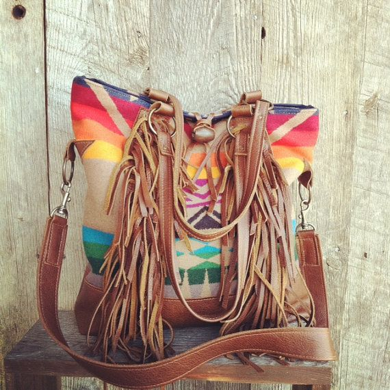 Pendleton Wool And Brown Leather Fringe Tote With by 14xbags, $300.00