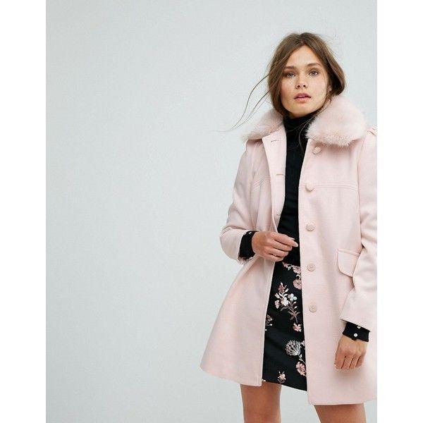 Miss selfridge petite faux fur collar coat black