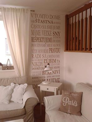 Veľmi pekne ďakujeme za fotku od spokojných zákazníkov:-) Vyzerá to skvelo. Nálepku nájdete v predaji tu: http://artsablony.sk/tovar/3458n-nalepka-na-stenu-domov