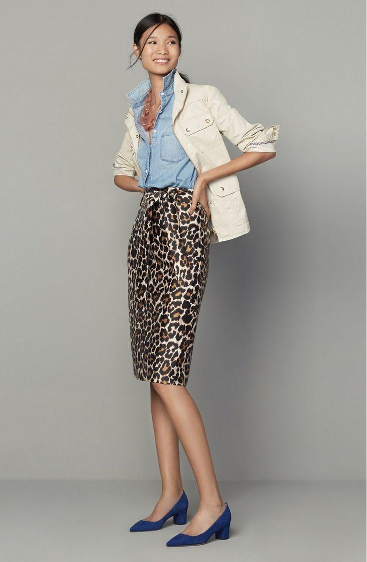 J.Crew Leopard Print Tie Waist Skirt (Regular & Petite) | Nordstrom. Leopard skirt. Pencil skirt. Denim shirt. Chambray. White field jacket. Layers.