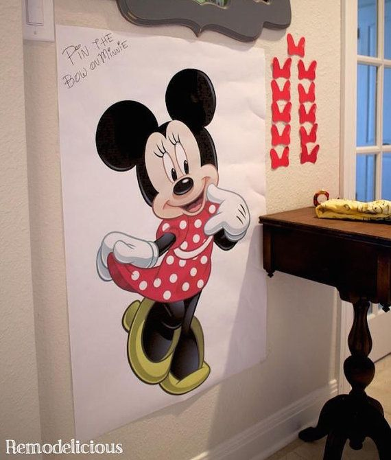 printable pin the bow on minnie mouse party game by