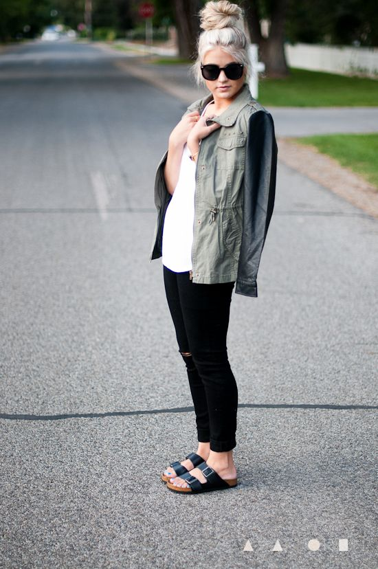 Wearing black and white is an easy way to look chic even in your most casual outfits. A leather contrast utility jacket is edgy, practical and pulls together your favorite jeans and tee outfit.