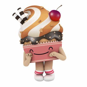 "kakao talk emoticon ""cupcake"" 카카오톡 애니메이션 이모티콘 ""컵케이크양"""