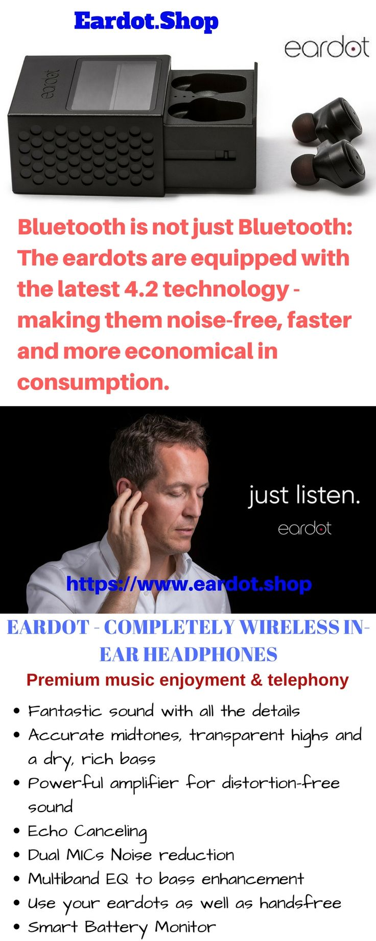 Buy best selling wireless in-ear Bluetooth headphones online without cable available in market only on https://www.eardot.shop/. Equipped with latest Bluetooth 4.2 Technology and unique design we provide in-ear headphones with excellent connectivity. #BuyWirelessInEarHeadphones