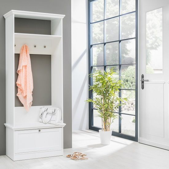 Country Hallway Stand In White With 1 Drawer And 4 Hooks