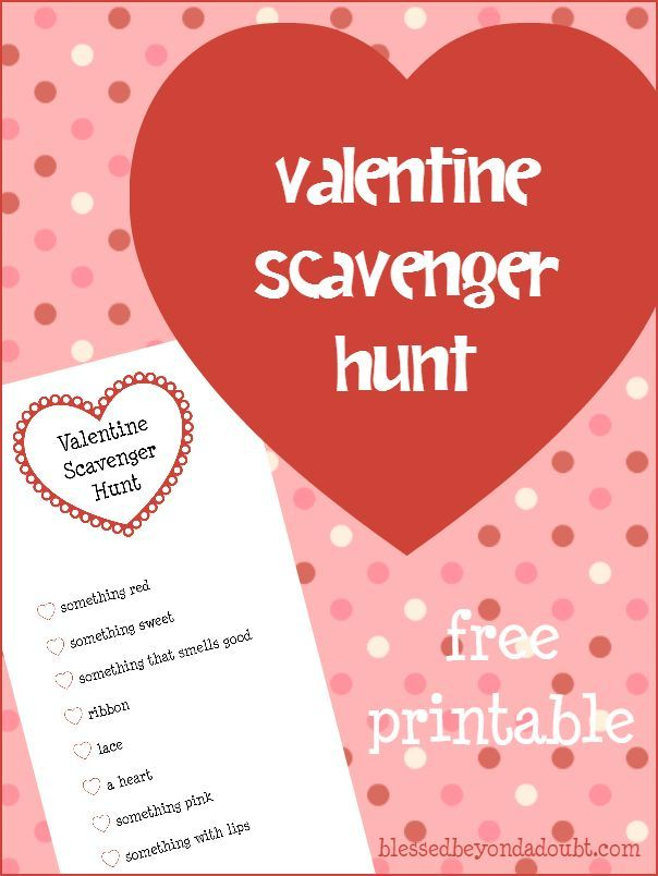 e5016fb8b0c223a87a6ee23199c5ce93 family valentines day valentines day activities - Your class and family will have FUN with this FREE Valentine Scavenger Hunt Prin...