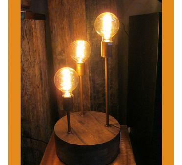 lampe de salon poser triptyque en bois et cuivre - Lampe De Salon