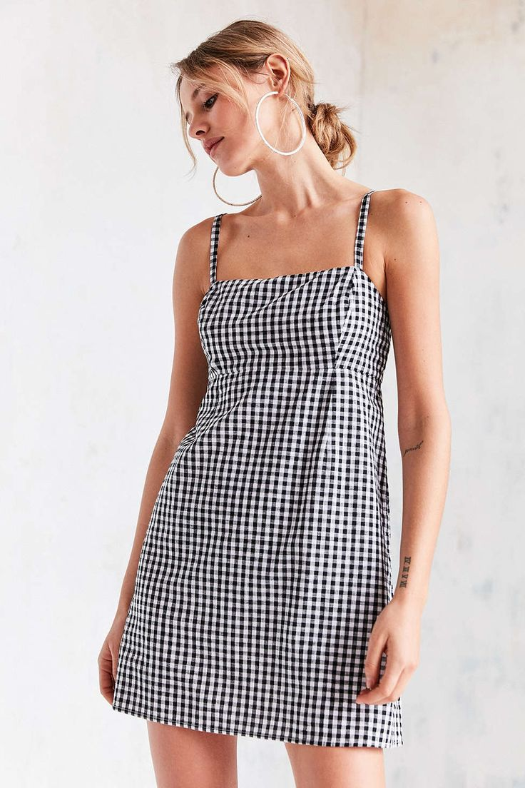 Cooperative Straight Neck Gingham Dress - Urban Outfitters